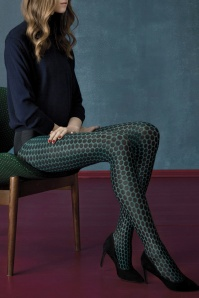60s Carrousel Polkadot Tights in Vintage Green