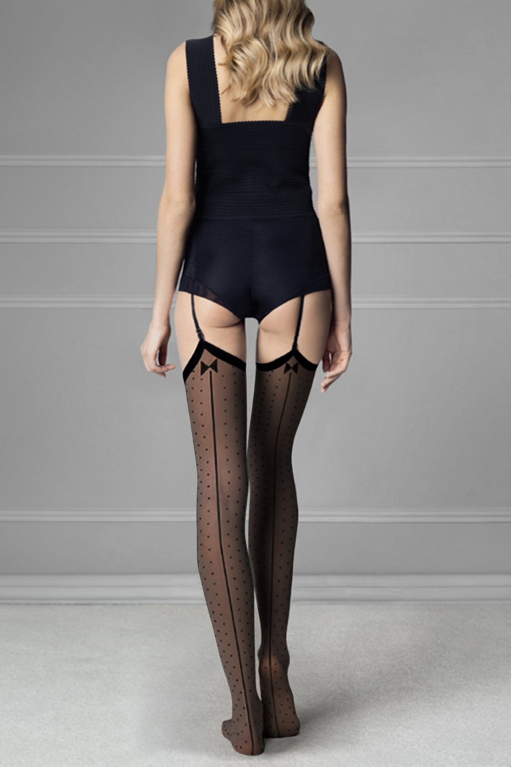 Seamed Stockings, Nylons, Tights 50s Gossip Polkadot Stockings in Black £5.39 AT vintagedancer.com