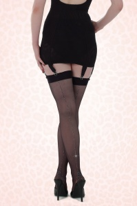 50s Retro Metallic Silver Seamed Stockings in Black