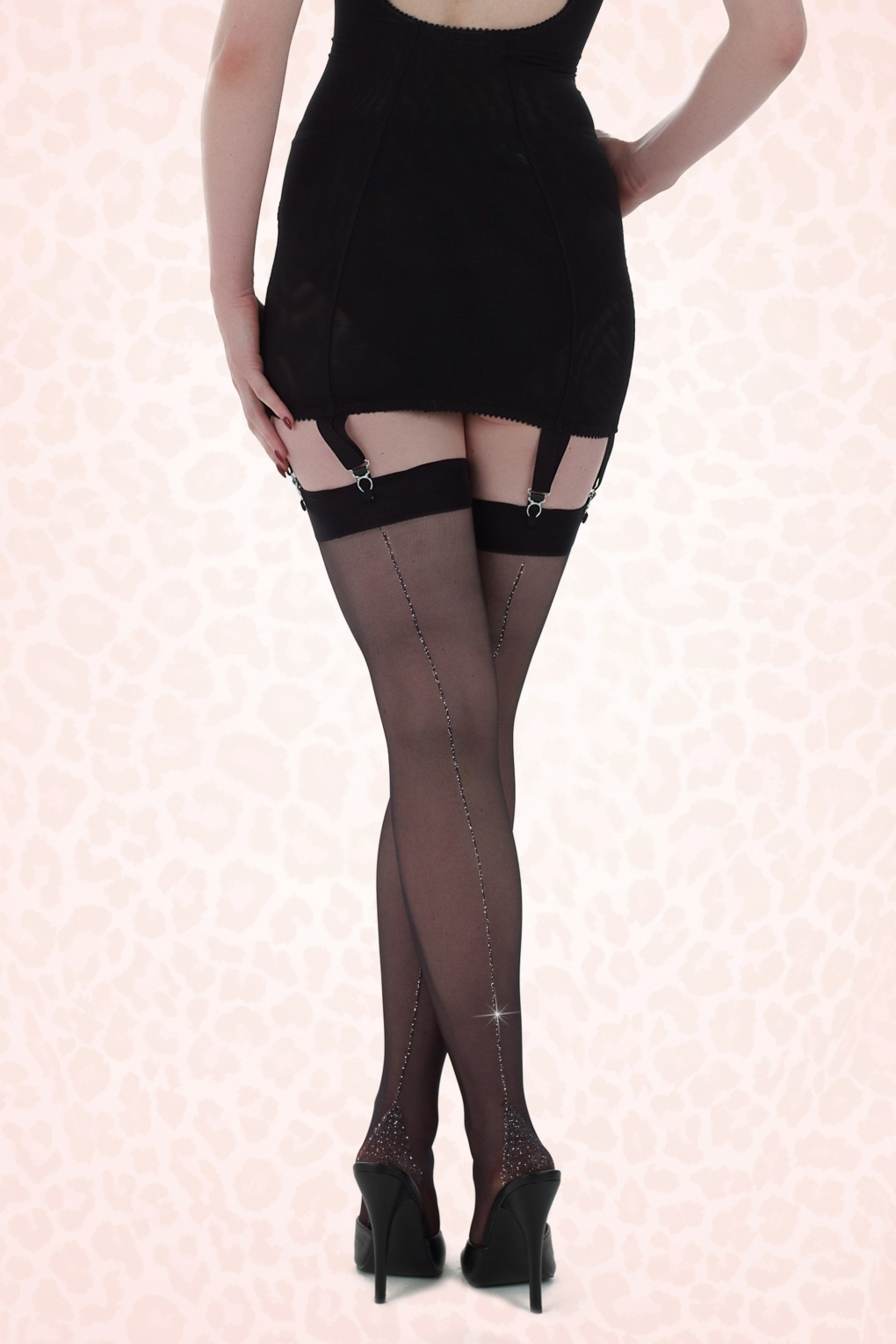 Seamed Stockings, Nylons, Tights 50s Retro Metallic Silver Seamed Stockings in Black £11.92 AT vintagedancer.com