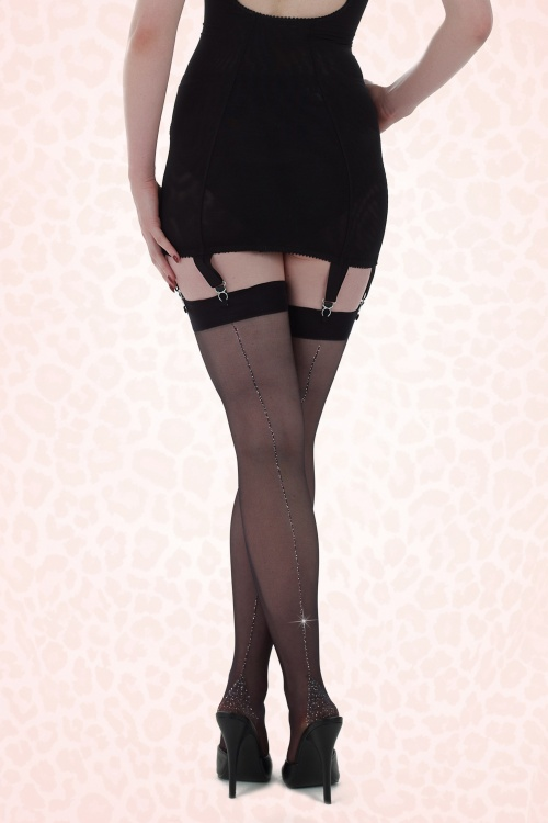 What Katie Did Seamed Stockings Metalic Silver 173 10 20423b