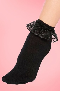50s Cute Ruffle Lace Bobby Socks in Black