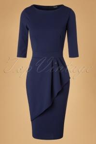 Vintage Chic Scuba Crepe Navy Wrap Skirt Pencil Dress 100 31 19628 20161102 0002W