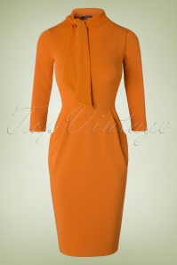 50s Brianna Tie Neck Pencil Dress in Cognac