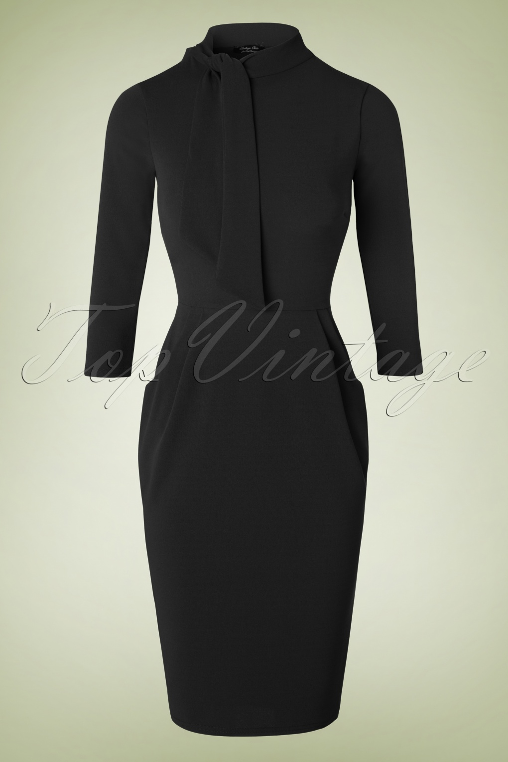 50s Brianna Tie Neck Pencil Dress In Black