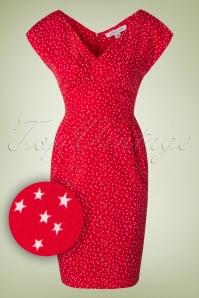 50s Juliet Stars At Night Dress in Red