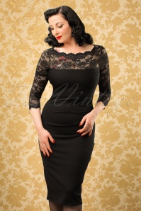 50s Linda Lace Pencil Dress in Black