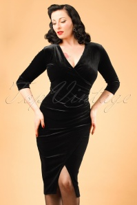Vintage Chic TopVintage Exclusive Black Velvet Wrap Over Dress 100 10 19697 20160926 0010w modelfotoW