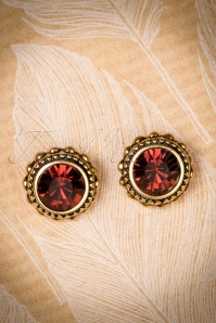 40s Classy Crystal Earrings in Gold and Brown