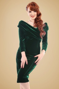 Collectif Clothing Hollie Velvet Green Wiggle Dress 16102 20150624 1