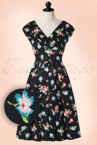 50s Ada Romance Is Born Floral Dress in Blue
