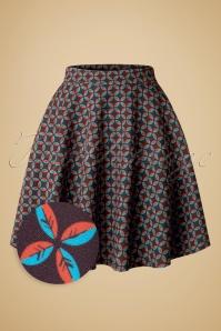 60s Gail Leaf Flared Skirt in Brown