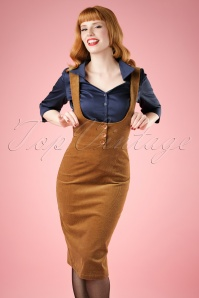Natalia Corduroy High Waist Pencil Skirt Années 1970 en Cognac