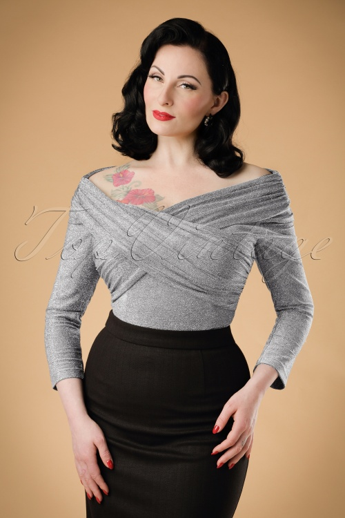 Collectif Clothing Celine Lurex Top in Silver 18914 20160602 modelw