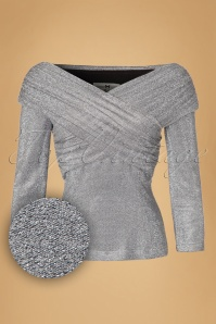 Collectif Clothing Celine Lurex Top in Silver 18914 20160602 0006W1