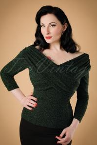 50s Celina Lurex Top in Green