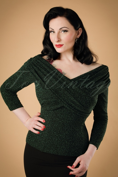 Collectif Clothing Celina Lurex Top in Green 18915 20160602 modelW