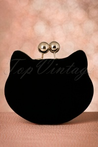 60s Lucy Velvet Cat Clutch in Black