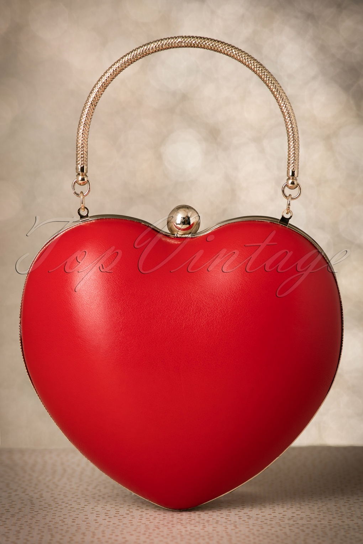 Retro Handbags, Purses, Wallets, Bags 50s Lou Heart Bag in Lipstick Red £35.71 AT vintagedancer.com