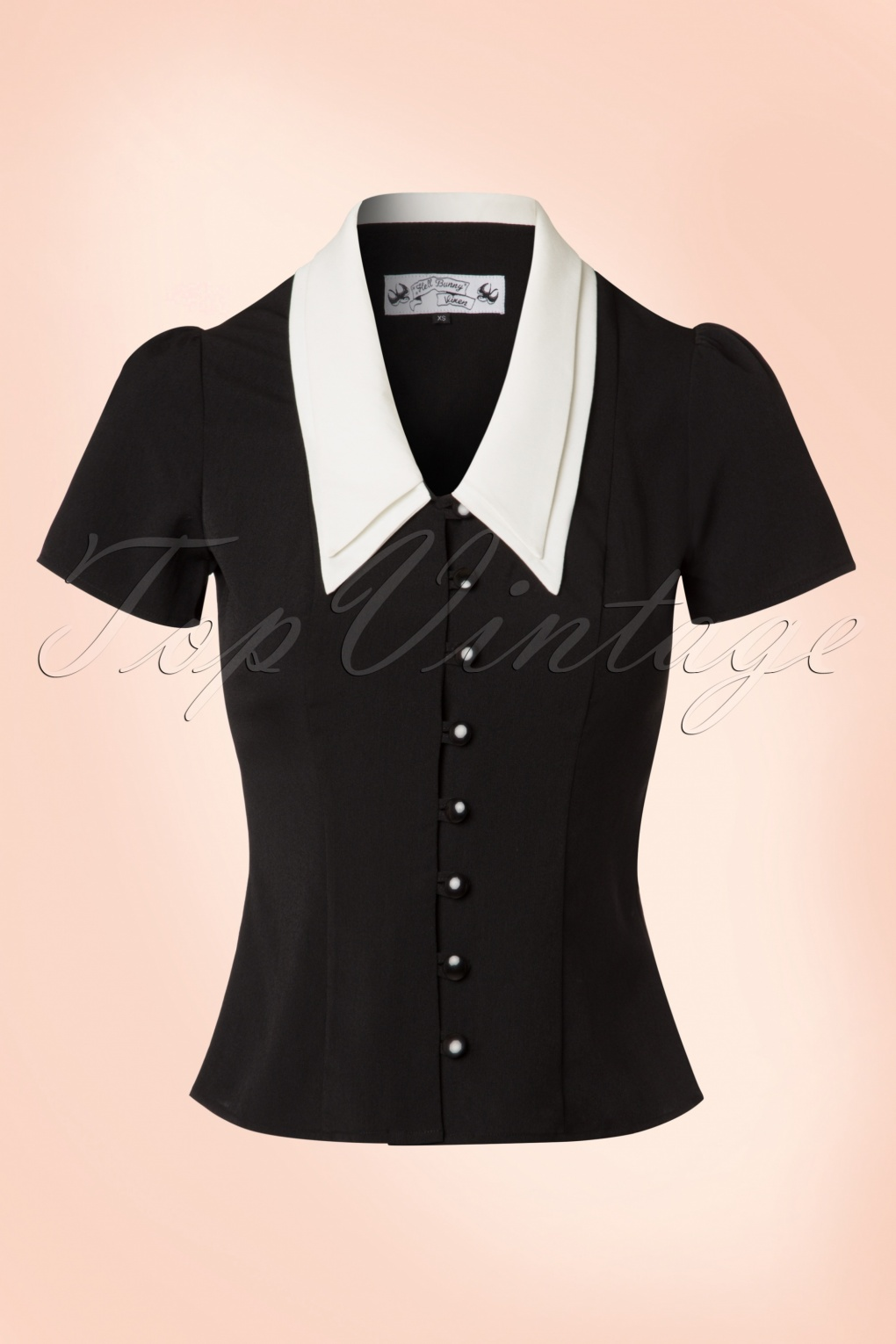 1940s Blouses, Shirts and Tops Fashion History 40s Olsen Top in Black and Ivory Crêpe £34.70 AT vintagedancer.com