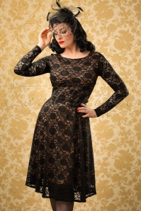 50s Sylvia Lace Swing Dress in Black