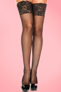 50s Black Lace Fishnet Hold Ups in Black