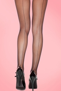 Fishnet Back Seam Tights Années 50 en Noir