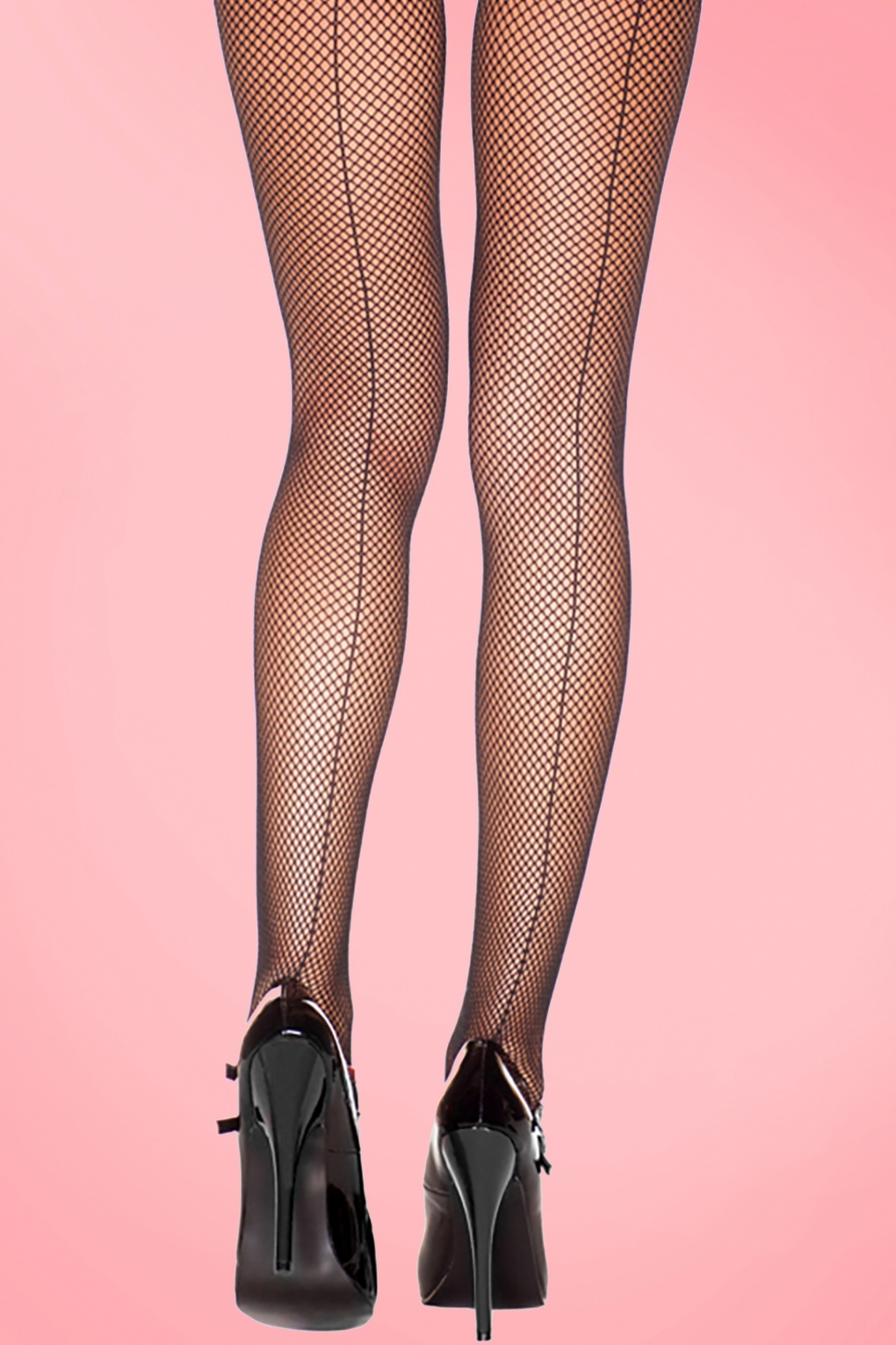 1950s Stockings and Nylons History & Shopping Guide 50s Fishnet Back Seam Tights in Black £5.21 AT vintagedancer.com