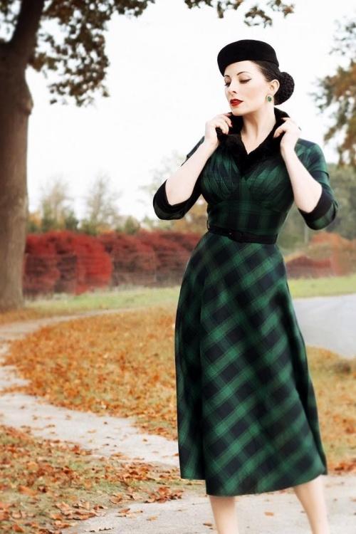 40s Lola Tartan Swing Dress in Green
