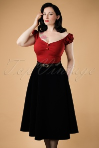Collectif Clothing Rosie Quilted Velvet Swing Skirt 18905 20160602 modelV2