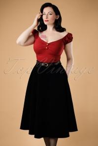40s Rosie Quilted Velvet Swing Skirt in Black