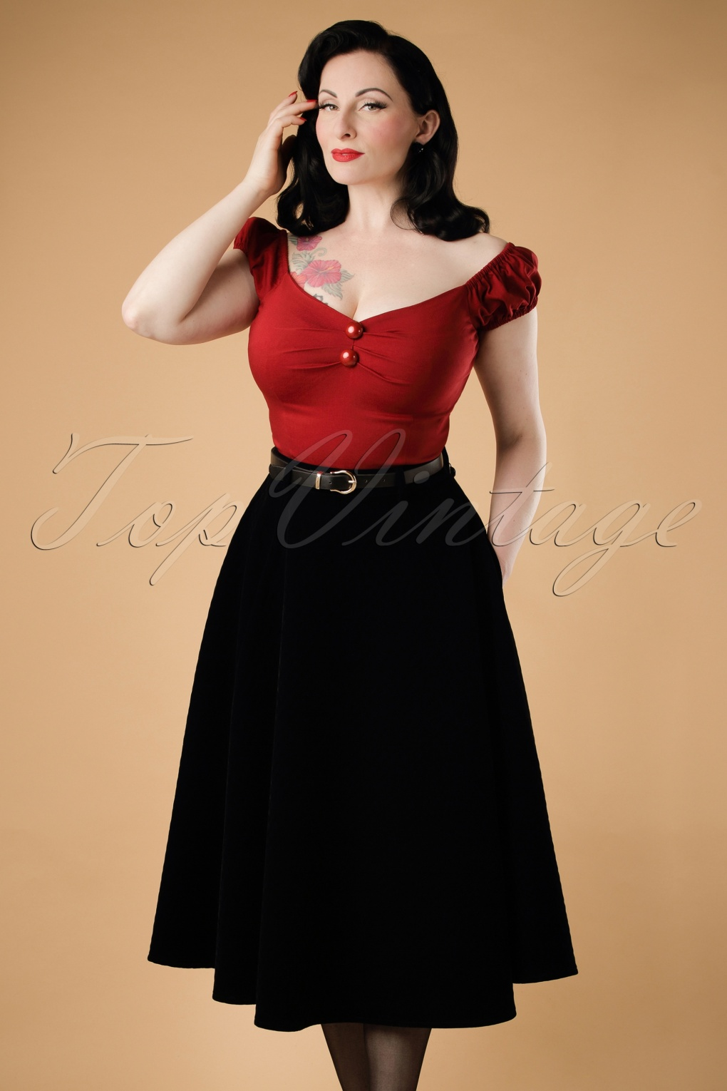 1940s Style Skirts- High Waist Vintage Skirts 40s Rosie Quilted Velvet Swing Skirt in Black £75.51 AT vintagedancer.com