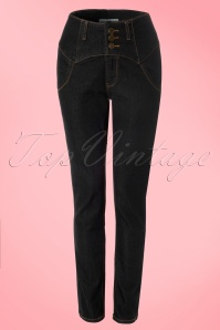Rebel Kate High Waist Denim Pants Années 50 en Noir