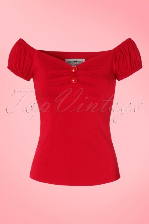 Collectif Clothing Dolores Plain Bengaline Top 10348 20160602 0001W