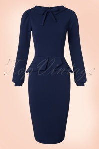 Vintage Chic Scuba Crepe Dress in Navy 100 31 19606 20161104 0011w