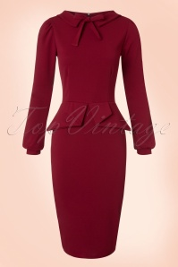 Vintage Chic Scuba Crepe Dress in Wine Red 100 20 19607 20161104 0004w