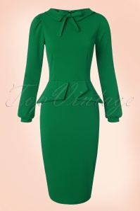 Vintage Chic Scuba Crepe Dress in Emerald 100 40 20097 20161104 0011w