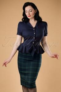 Polly Blackwatch Pencil Skirt Années 1950 en Navy et Vert