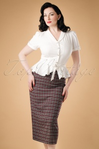 40s Miranda Check Midi Skirt in Wine