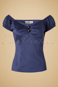 50s Dolores Top Carmen in Navy