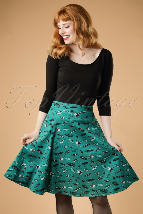 Collectif Clothing Tammy 50s Car Print Skirt 19039 20160602 modelcw