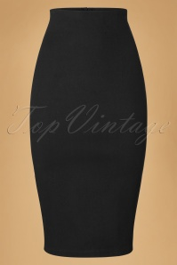 Collectif Clothing Fiona Skirt Plain in Black 10264 20160602 0003