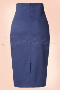 Collectif Clothing Fiona Pencil Skirt Plain Navy Blue 14795 20141214 0006W