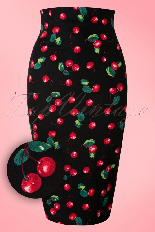 Collectif Clothing Fiona 50s Cherry Pencil Skirt Black 120 14 16174 20160217 00051W