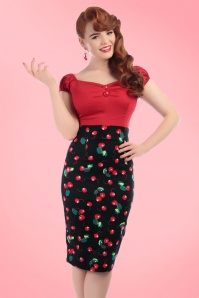 Collectif Clothing Fiona 50s Cherry Pencil Skirt Black 120 14 16174 20160217 1