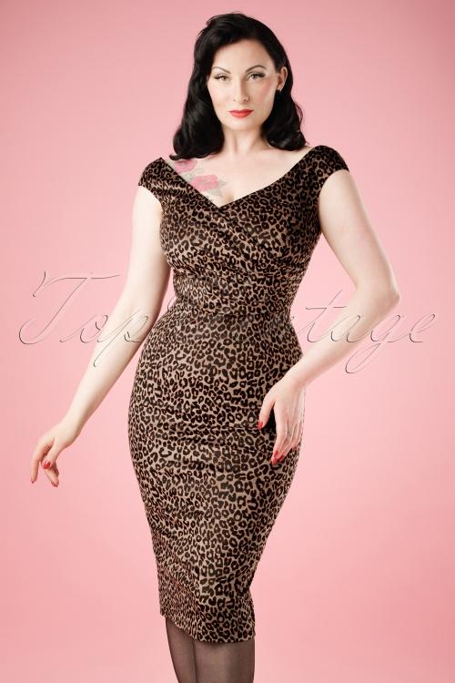 Collectif Clothing Winnie Leopard Velvet Pencil Dress 18869 20160531 model01cw