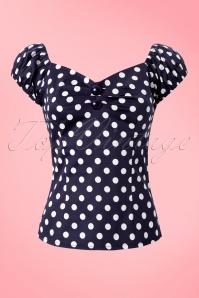 Collectif Clothing Dolores Blue Polkadot Top 11870 1