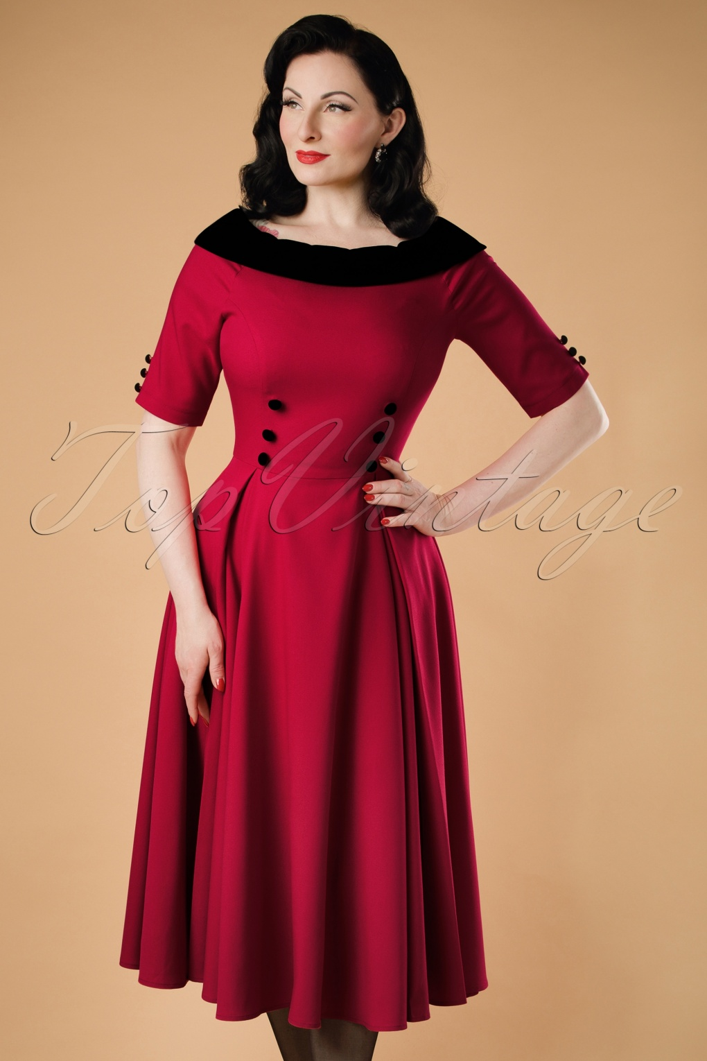 50s Carrera Swing Dress In Red
