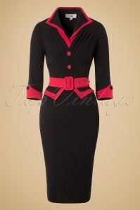 50s Myrna Pencil Dress in Black and Red