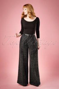40s Rita Sparkle Tweed Trousers in Charcoal